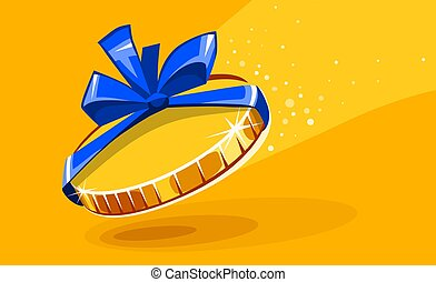 10 cents gold coin in gift wrapping with bow blue ribbon.