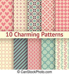 10 Charming different vector seamless patterns (tiling). Sweet pink, blue and lemon cream colors. Endless texture can be used for printing onto fabric and paper. Heart, flower and dot shape.