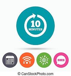 10, cheio, sinal, arrow., cada, icon., minutos, rotação