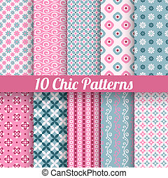10 Chic different vector seamless patterns (tiling). Pink and blue color. Endless texture for printing onto fabric, paper, scrap booking. Wave, flower and dot shape. Pretty cute print background.