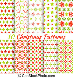 Christmas different vector seamless patterns (tiling).