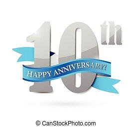 10, cinta, aniversario, ilustración, señal