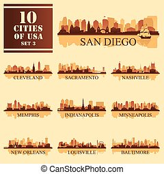 10 cities of United States of America #3, detailed isolated silhouettes.