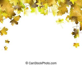 10, coloré, cadre, leaves., eps, automne, frontière
