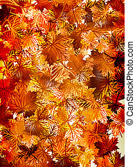 10, coloré, eps, leaves., automne, fond