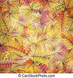 10, coloré, leaves., eps, automne, baissé