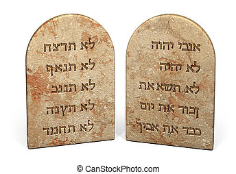 10 commandments - Ten Commandments written on stone tablets ...