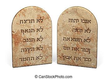 Ten Commandments written on stone tablets in Hebrew