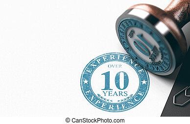 10, con esperienza, experience., sopra, persona, anni