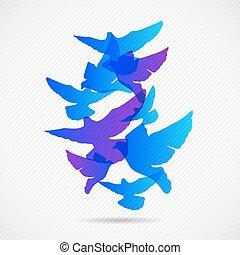 10, concepto, collorfull, palomas, eps, vector, plano de...