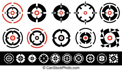 10, conjunto, blanco, reticle, shapes., cross-hairs, marcas