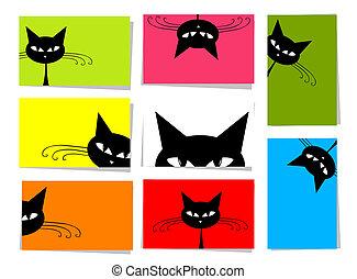 10, conjunto, divertido, texto, gatos, diseño, tarjetas, lugar, su