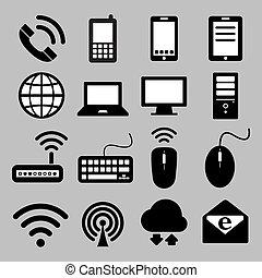 10, conjunto, red, móvil, dispositivos, eps, conexiones, computadora, icono