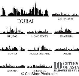 10, conjunto, silhouettes., asia, contorno, #1, ciudades