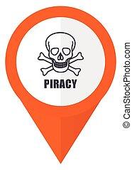 10, cranio, pirateria, eps, isolato, fondo., vettore, arancia, bianco, puntatore, icona