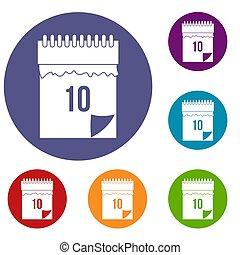 10 date calendar icons set