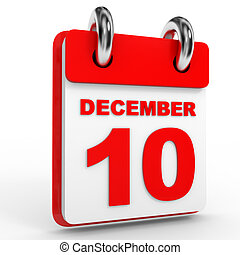 10 december calendar on white background.