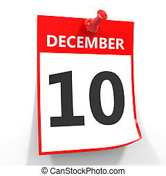 10 december calendar sheet with red pin.