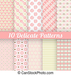 10 Delicate lovely vector seamless patterns (tiling). Fond pink, green, white and brown colors. Endless texture can be used for printing onto fabric and paper or invitation. Stripe and flower shapes.