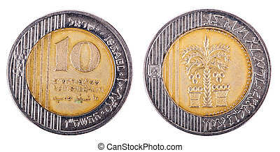 10, deux, frontal, -, isolé, shekels, côtés