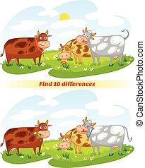 10, différences, trouver