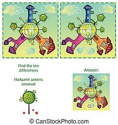 10, différences, -, visuel, jeu, réponse, trouver