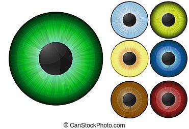 10, différent, fond, image, réaliste, vecteur, colors., humain, blanc, yeux, -eps