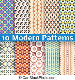 Different modern vector seamless patterns (tiling).
