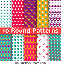 Different round shape vector seamless patterns (tiling).