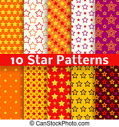 Different star vector seamless patterns (tiling).