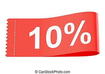10% discount red clothing label, 3D rendering