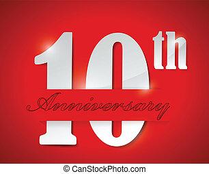 10, disegno, anniversario, illustrazione