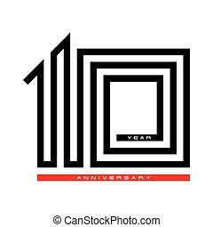 10, dix, concept, anniversaire, vecteur, conception, année, logo, célébration