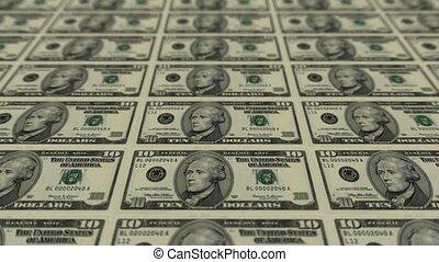 10 dollar bills,Printing Money Animation.