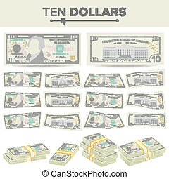 10 Dollars Banknote Vector. Cartoon US Currency. Two Sides Of Ten American Money Bill Isolated Illustration. Cash Symbol 10 Dollars Stacks