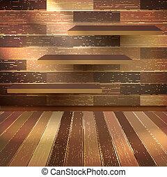 10, drewniany, półka, eps, wall., drewno, opróżniać