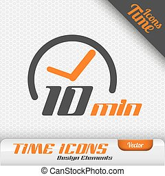 10, elementos, símbolo, vector, diseño, tiempo, minutos, ...
