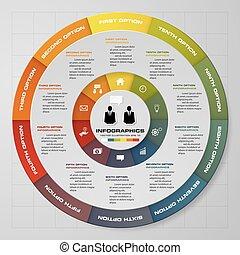 10, elements., astratto, settori, passi, infographics