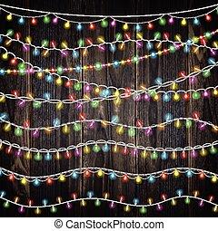 10, ensemble, guirlande, lumières, couleur, brosses, lights., inclut, arrière-plan., incandescent, vecteur, bois, brins, noël, fête