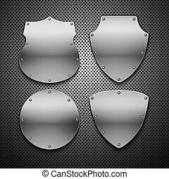 10, ensemble, illustration., shields., eps, vecteur