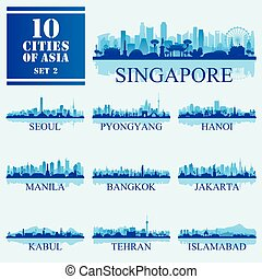 10, ensemble, illustration, vecteur, asiatique, villes