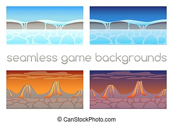 10, ensemble, seamless, eps, jeu, 4, backgrounds.