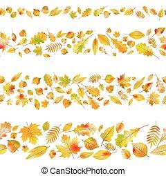 10, ensemble, seamless, leaves., automne, vecteur, frontières, eps