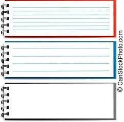 10, -, eps, anteckningsbok, vektor, tom, öppna