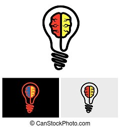 10, eps, cerebro, vector, bombilla, icono, logotipo, icono