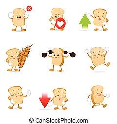 10, eps, cobrança, 002, vetorial, ilustração, caricatura, pão
