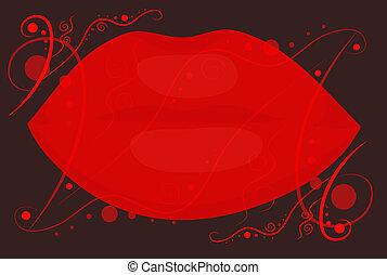 10, eps, fondo., labbra, nero rosso