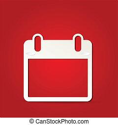 10, -, eps, freigestellt, vektor, kalender, rotes , ikone