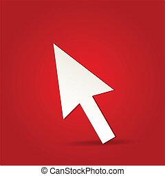 10, -, eps, freigestellt, vektor, pfeil, klicken, rotes , ikone