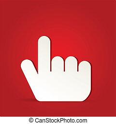 10, -, eps, isoleret, vektor, finger, falde i hak, rød, ikon